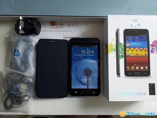 95%新 黑色 i-Touch Note HD (安卓4.0 高速雙核 5.03吋 6575) + 3200mAh電池 x 2 + 原廠皮套 + 8g card ( 2012年 7月1日 天域國際購買行貨 )