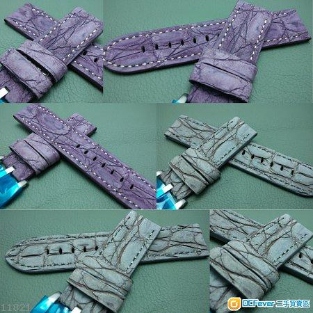 24mm錶帶 伐用 Panerai 大鱷魚皮 磨沙面錶帶 四色 (小有的款式)