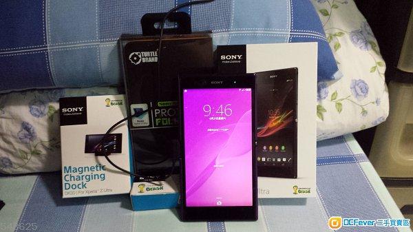 香港SONY行貨90%新 Sony Xperia Z Ultra c6802  鏡黑色 + 磁性充電座 Docking+線 全套!