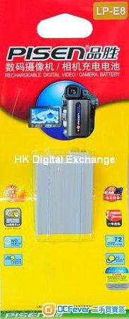 全新品勝PISEN LP-E8 電池 for Canon 550D, 600D, 650D, 700D,行貨一年保