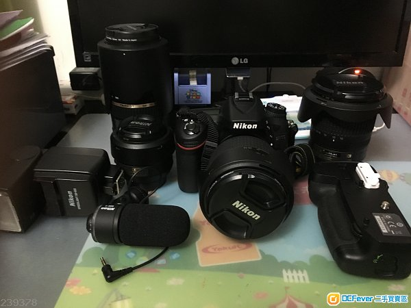 Nikon D7100 + 4鏡頭 +MB-D15+ME-1 咪+ 閃光燈SB-600+ 電子防潮箱+腳架